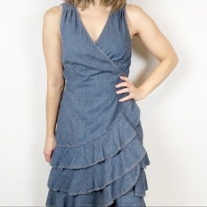 LRL 100% cotton denim wrap dress with ruffle skirt